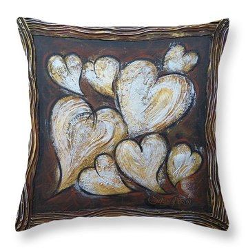 Throw Pillow featuring the painting Precious Hearts 301110 by Selena Boron