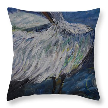 Throw Pillow featuring the painting Preening Crane by Avonelle Kelsey