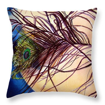 Throw Pillow featuring the painting Preening For Attention Sold by Lil Taylor