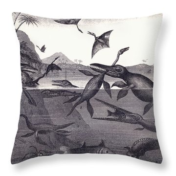 Prehistoric Animals Of The Lias Group Throw Pillow by English School