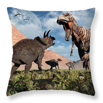 Prehistoric Battle Throw Pillow by Mark Stevenson