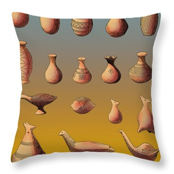 Prehistoric Clay Rattles Bronze Age Throw Pillow by Photo Researchers