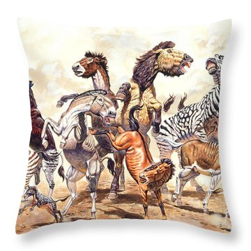 Prehistoric Horses Throw Pillow by Mark Hallett Paleoart