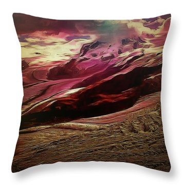 Throw Pillow featuring the painting Prehistoric Lava Hill Formations by Mario Carini