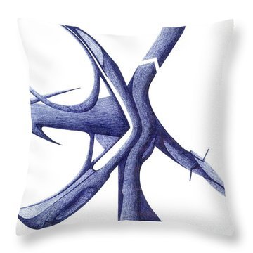 Prehistoric Sign Throw Pillow by Giuseppe Epifani