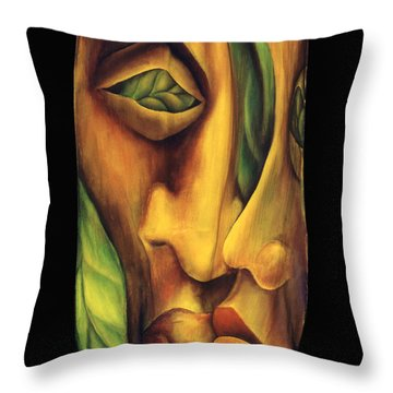 Throw Pillow featuring the painting Prelude To A Kiss by Anna Skaradzinska