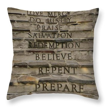 Prepare Repent Believe Throw Pillow by Jean Goodwin Brooks