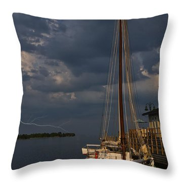 Preparing For The Storm Throw Pillow by Chris Flees