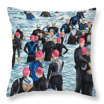 Preparing For The Swim Throw Pillow by Tanya Petruk