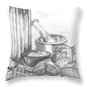 Throw Pillow featuring the drawing Preparing Starter Course by Teresa White
