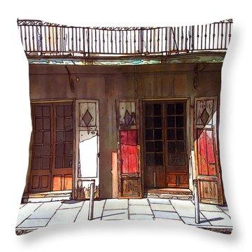 Preservation Hall Doors 370 Throw Pillow by John Boles