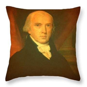 President James Madison Portrait And Signature Throw Pillow