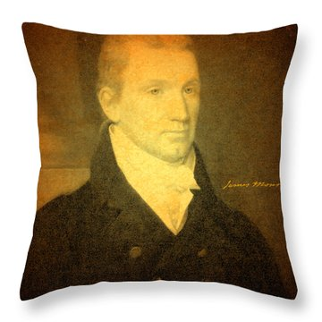 President James Monroe Portrait And Signature Throw Pillow by Design Turnpike