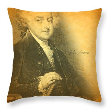 President John Adams Portrait And Signature Throw Pillow by Design Turnpike