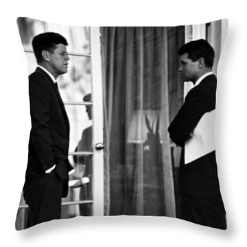 President John Kennedy And Robert Kennedy Throw Pillow by War Is Hell Store