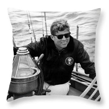 President John Kennedy Sailing Throw Pillow