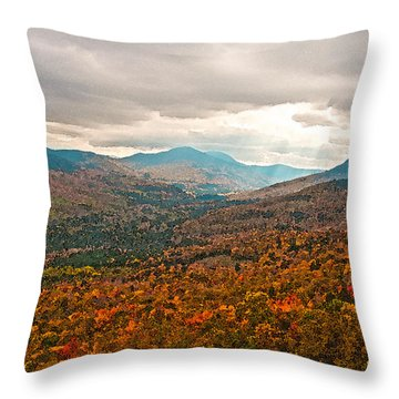 Presidential Range In Autumn Watercolor Throw Pillow by Brenda Jacobs