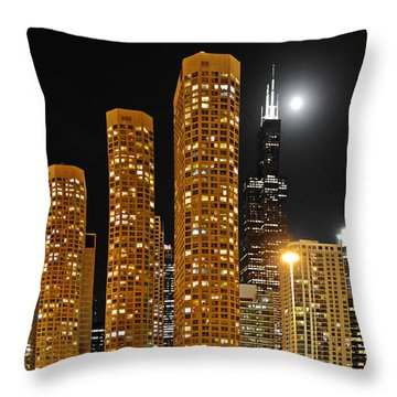 Presidential Towers Chicago Throw Pillow by Christine Till