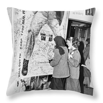 Presley Poster Grafitti Throw Pillow by Underwood Archives