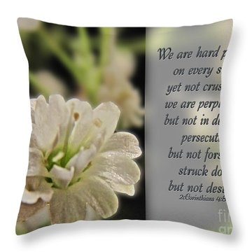 Pressed But Not Crushed Throw Pillow by Debbie Portwood