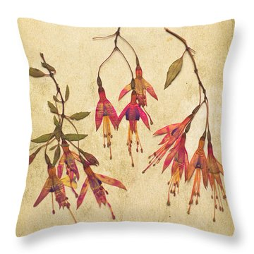Pressed Fuchsia Flowers Throw Pillow