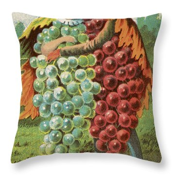 Pressed Grapes Throw Pillow by Aged Pixel