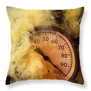Pressure Gauge With Smoke Throw Pillow by Garry Gay