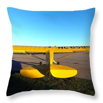 Throw Pillow featuring the photograph Preston Aviation Piper Cub 013  by Chris Mercer