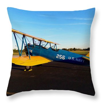 Throw Pillow featuring the photograph Preston's Stearman 005 by Chris Mercer