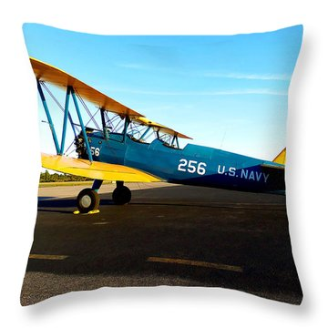Throw Pillow featuring the photograph Preston's Stearman 006  by Chris Mercer