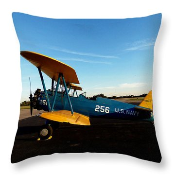 Throw Pillow featuring the photograph Preston's Stearman 007 by Chris Mercer