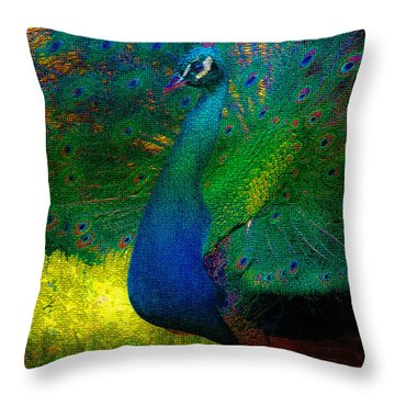 Throw Pillow featuring the photograph Pretty As A Peacock by Ola Allen