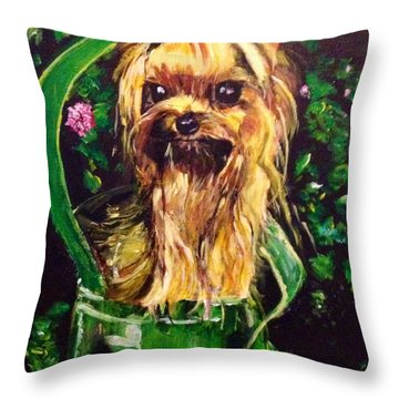 Throw Pillow featuring the painting Pretty Bambi by Belinda Low