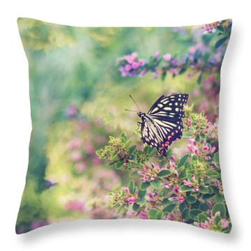 Pretty Butterfly Orange Markings Pink Flowers Green Leaves Throw Pillow