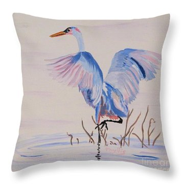 Throw Pillow featuring the painting Pretty Crane by Phyllis Kaltenbach