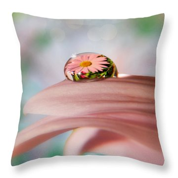 Pretty Flower Drop Throw Pillow