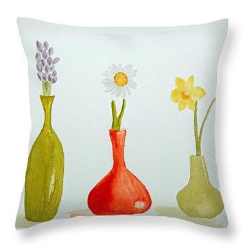 Pretty Flowers In A Row Throw Pillow by Elvira Ingram