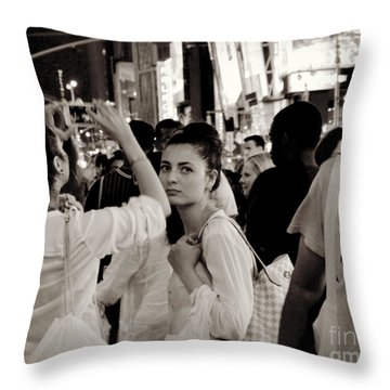 Pretty Girl In The Crowd - Times Square - New York Throw Pillow by Miriam Danar