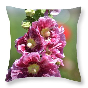 Pretty Hollyhock Flowers Throw Pillow