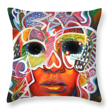 Pretty Hot Skull Throw Pillow by Ray Arcadio