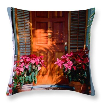Pretty House Door In Key West Throw Pillow by Susanne Van Hulst