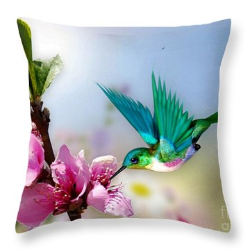 Pretty Hummingbird Throw Pillow by Morag Bates