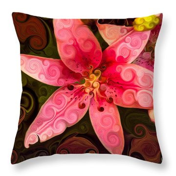 Throw Pillow featuring the painting Pretty In Pink by Omaste Witkowski