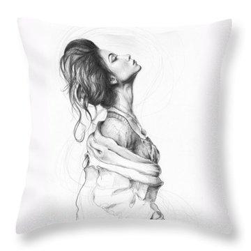 Pretty Lady Throw Pillow by Olga Shvartsur