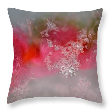 Throw Pillow featuring the photograph Pretty Little Snowflakes by Lauren Radke