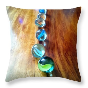 Pretty Marbles All In A Row Throw Pillow