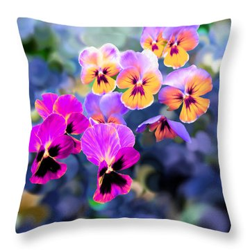 Pretty Pansies 3 Throw Pillow by Bruce Nutting