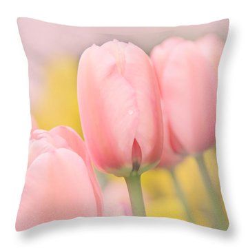 Pretty Pastel Pink Tulip Flowers Throw Pillow