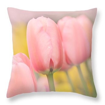 Pretty Pastel Pink Tulip Flowers Throw Pillow by Jennie Marie Schell