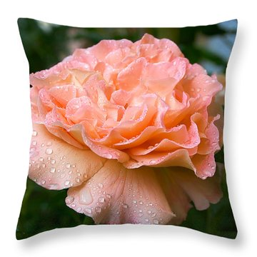 Pretty Peach Peony Flower Throw Pillow